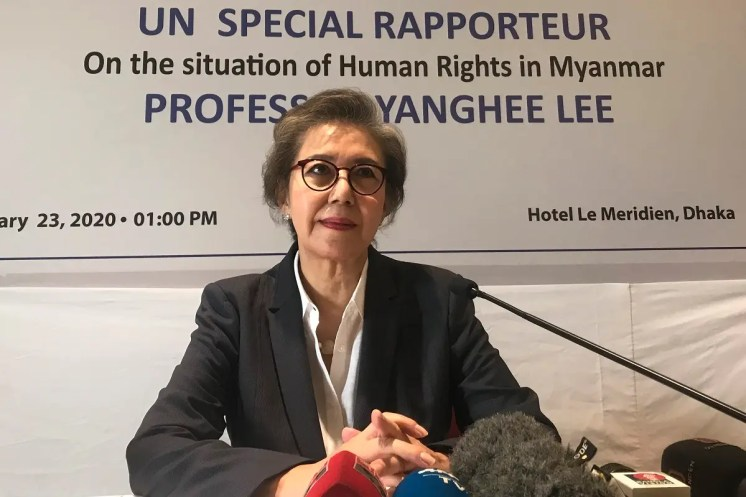 UN Special Rapporteur Yanghee Lee speaks during a press conference in Dhaka, Bangladesh, January 23, 2020. (File photo: AP)