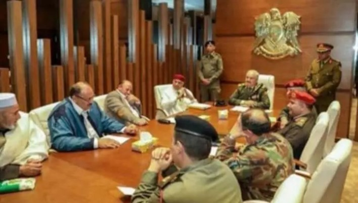 Makhlouf during a meeting with the leaders of the Libyan National Army headed by Field Marshal Khalifa Hifter