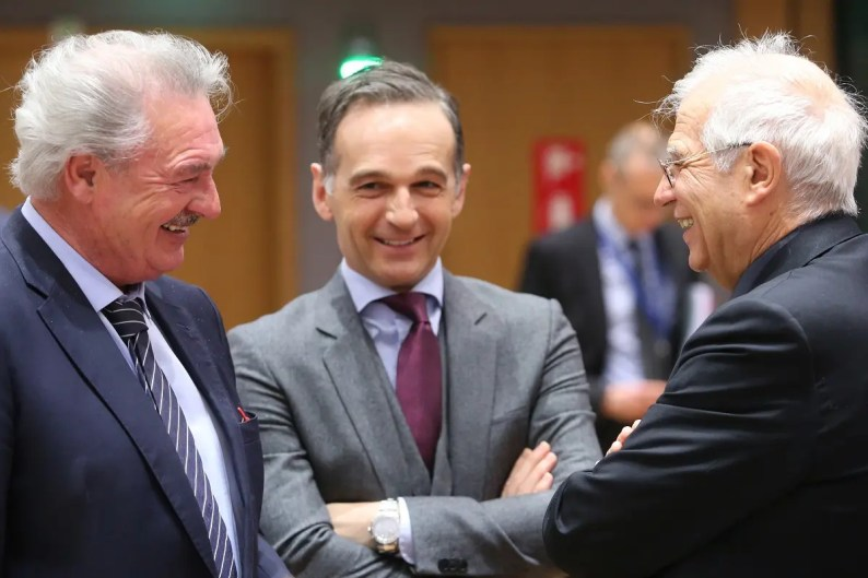 Luxembourg's Foreign Minister Jean Asselborn (L), Germany's Foreign Minister Heiko Maas (C) and European Union foreign policy chief Josep Borrell (R) talk during a EU Foreign Ministers meeting in Brussels on February 17, 2020. (AFP)
