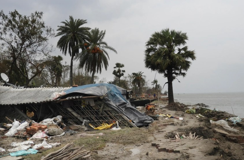 This May 22, 2020 photo shows the damage caused by Cyclone Amphan in Deulbari village, in South 24 Parganas district in the Sundarbans, West Bengal state, India. (AFP)