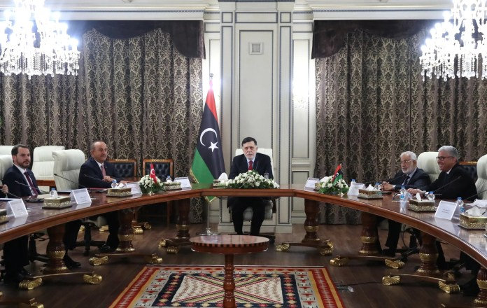 Prime Minister Al-Wefaq Fayez al-Sarraj during his meeting with the Turkish delegation in Tripoli (Archives - Reuters)