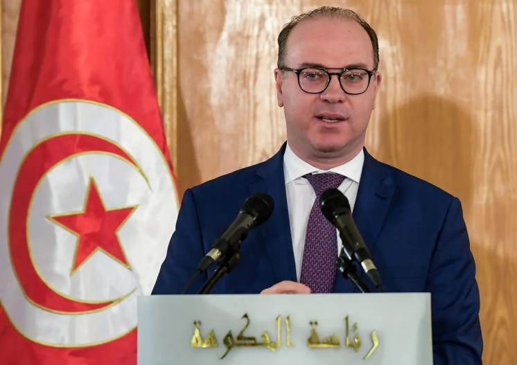 Fakhfakh speaks during the government handover ceremony in Carthage, Tunis, February 28, 2020. (AFP)