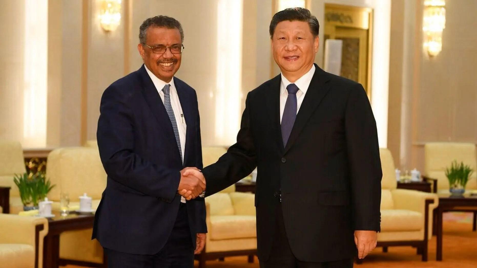 الرئيس الصيني زي جين بينغ ورئيس منظمة الصحة العالمية تيدروس أدهانوم