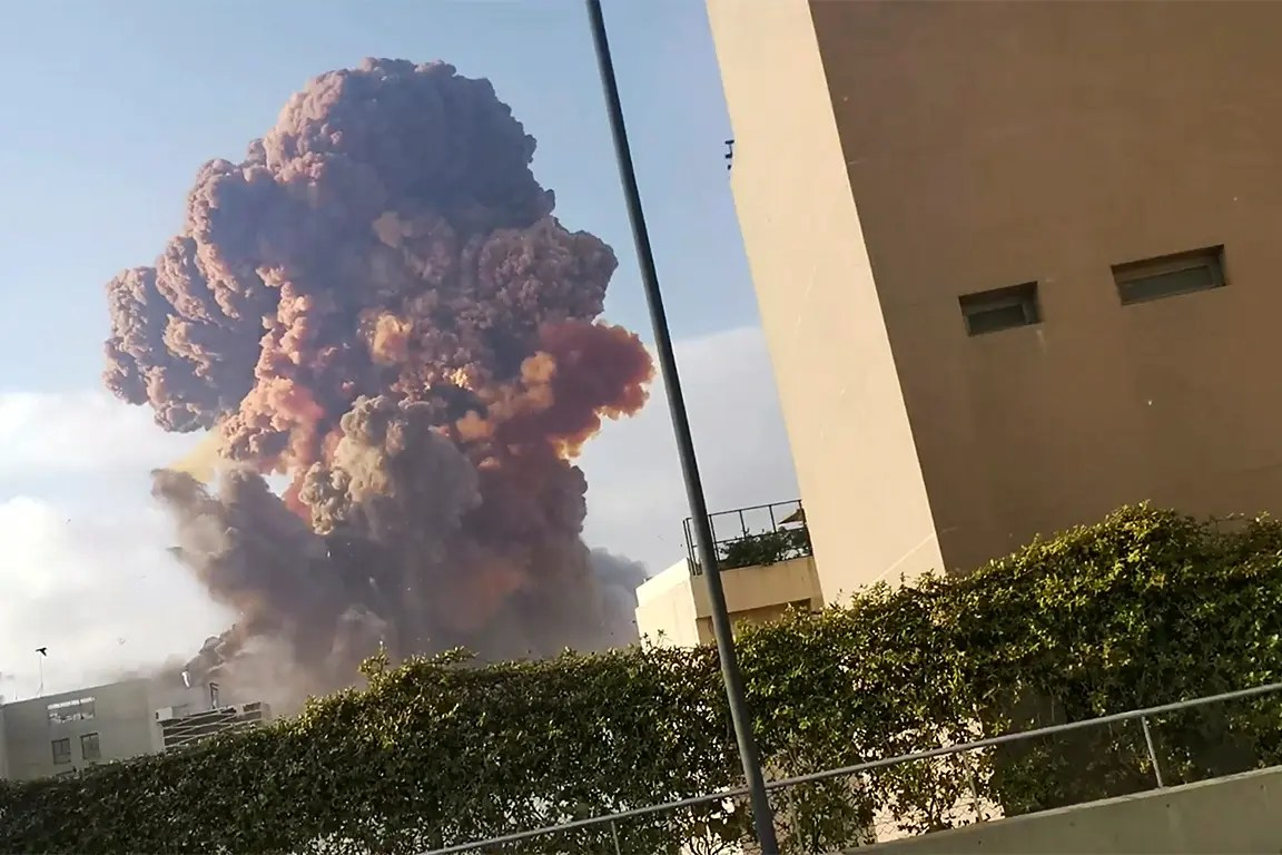 Smoke rises after an explosion in Beirut, Lebanon August 4, 2020, in this picture obtained from a social media video.  (Reuters)