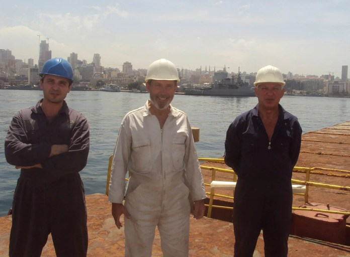 Boris Prokoshev, captain of the Roussos and Boris Mossenschak (left) and a crew member at Beirut Port - Summer 2014