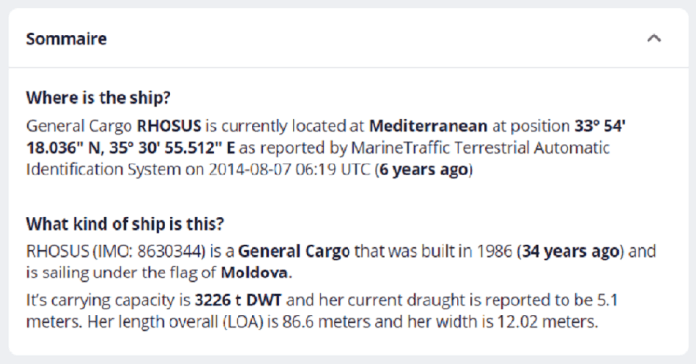 Details of the location of the ship anchored near the port of Beirut for years