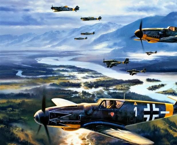 لوحة تجسد سربا من الطائرات الألمانية بالحرب العالمية الثانية