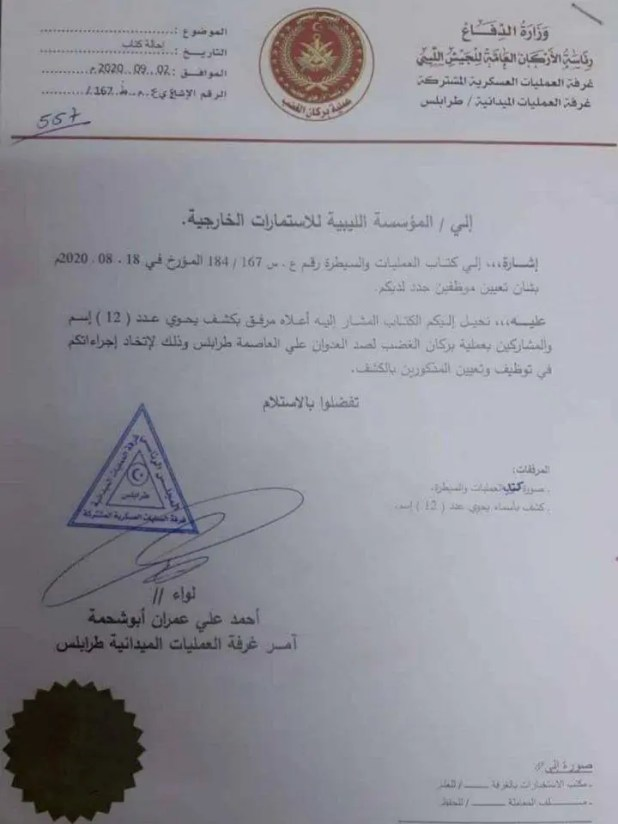 مراسلة لتوظيف عناصر من مليشيات الوفاق