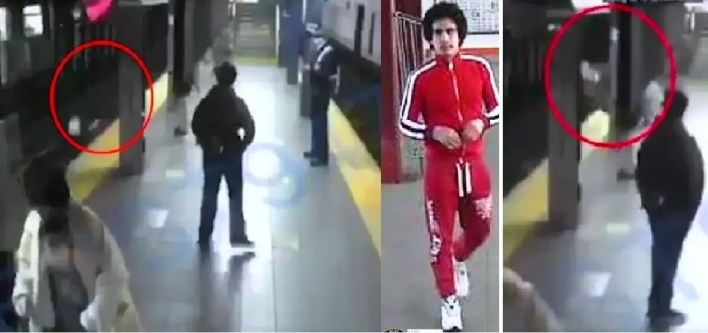 شاهد أحدهم يدفع امرأة إلى عجلات قطار مسرع بنيويورك