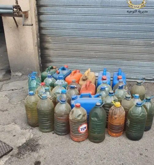 The Lebanese army confiscates dozens of plastic cans stored with fuel in gas stations. (Photo Courtesy: Lebanon's Armed Forces)