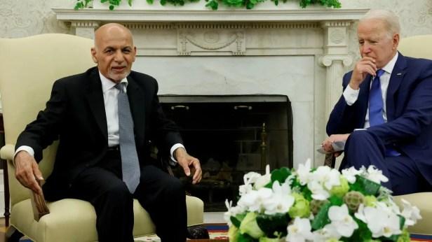 US President Joe Biden meets with Afghan President Ashraf Ghani at the White House, June 25, 2021. (Reuters)