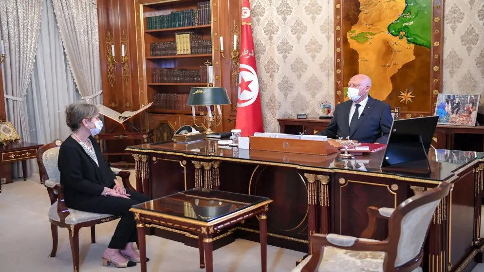 Tunisia's President Kais Saied meets with newly appointed Prime Minister Najla Bouden Romdhane, in Tunis, Tunisia September 29, 2021. (Reuters)