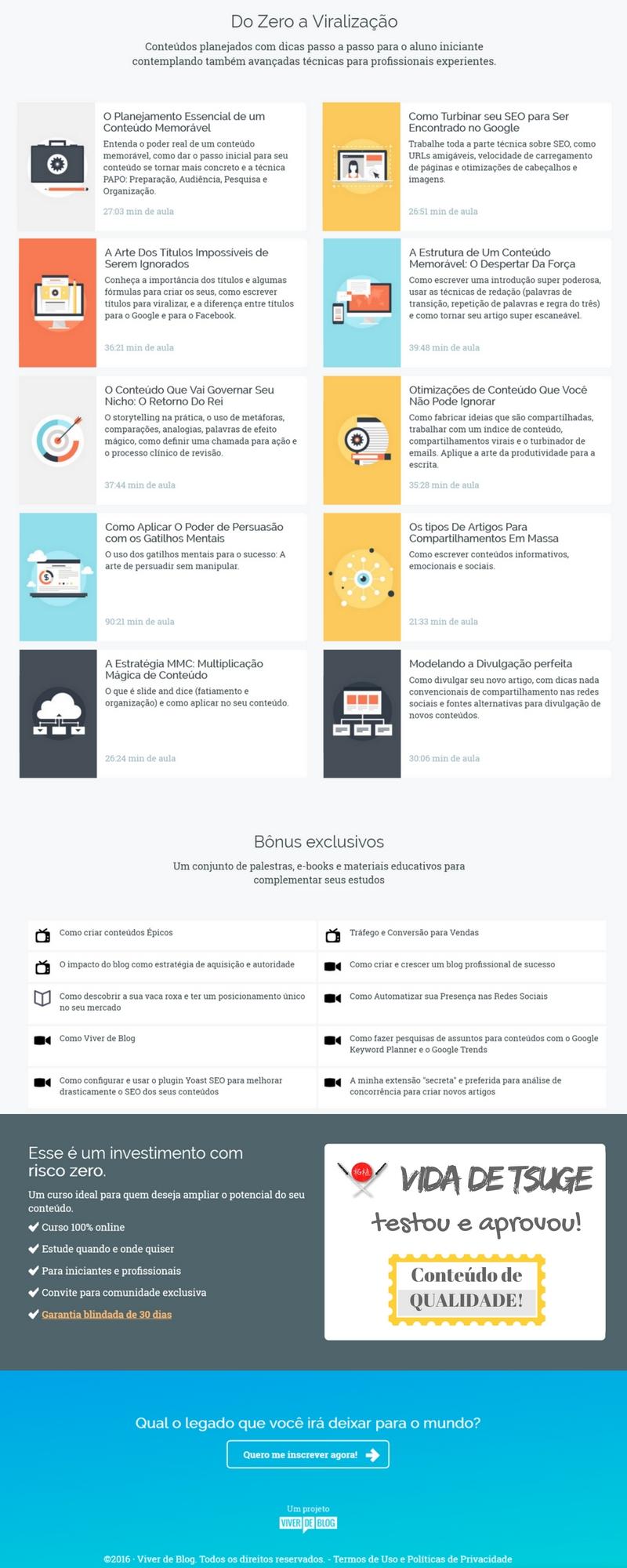Viver de blog - Infográfico do curso