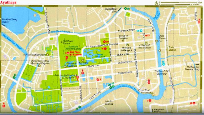 Thailand Ayutthaya Mapa de Ayutthaya Vida de Tsuge VDT