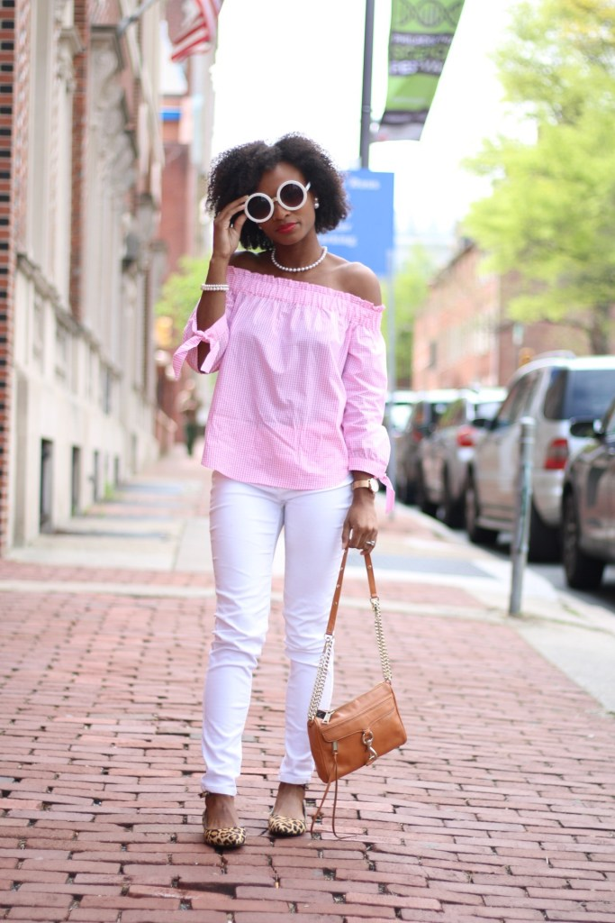 Pink Gingham OTS Top1