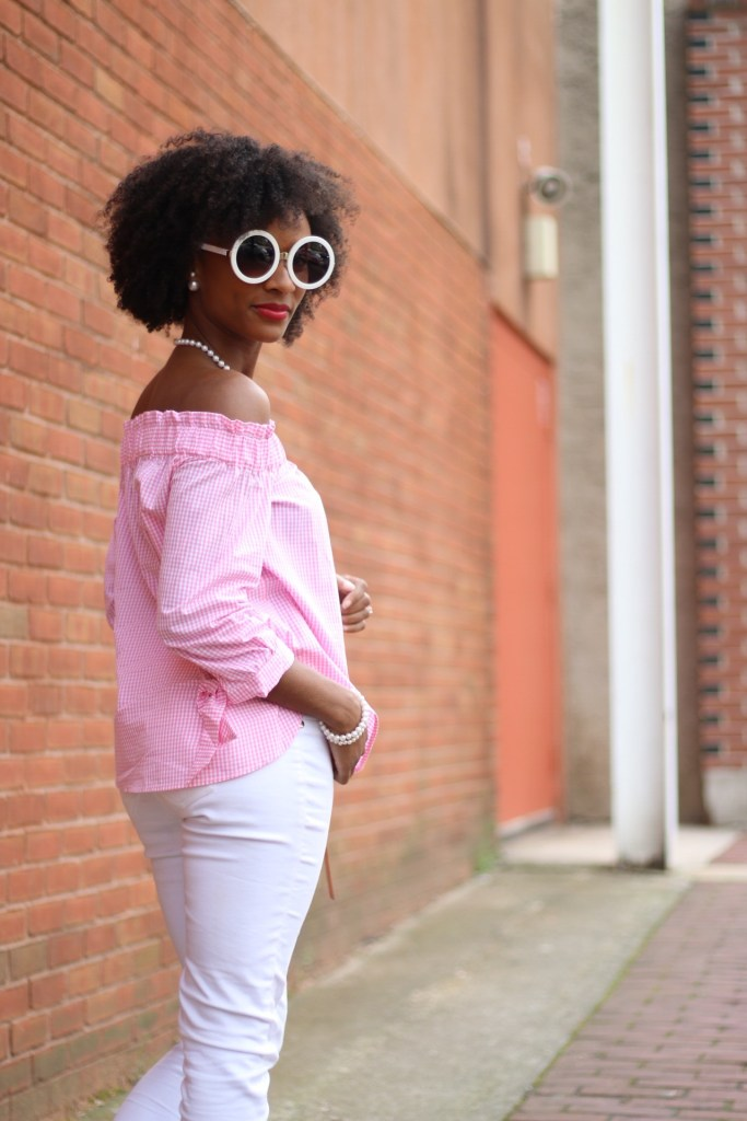 Pink Gingham OTS Top6