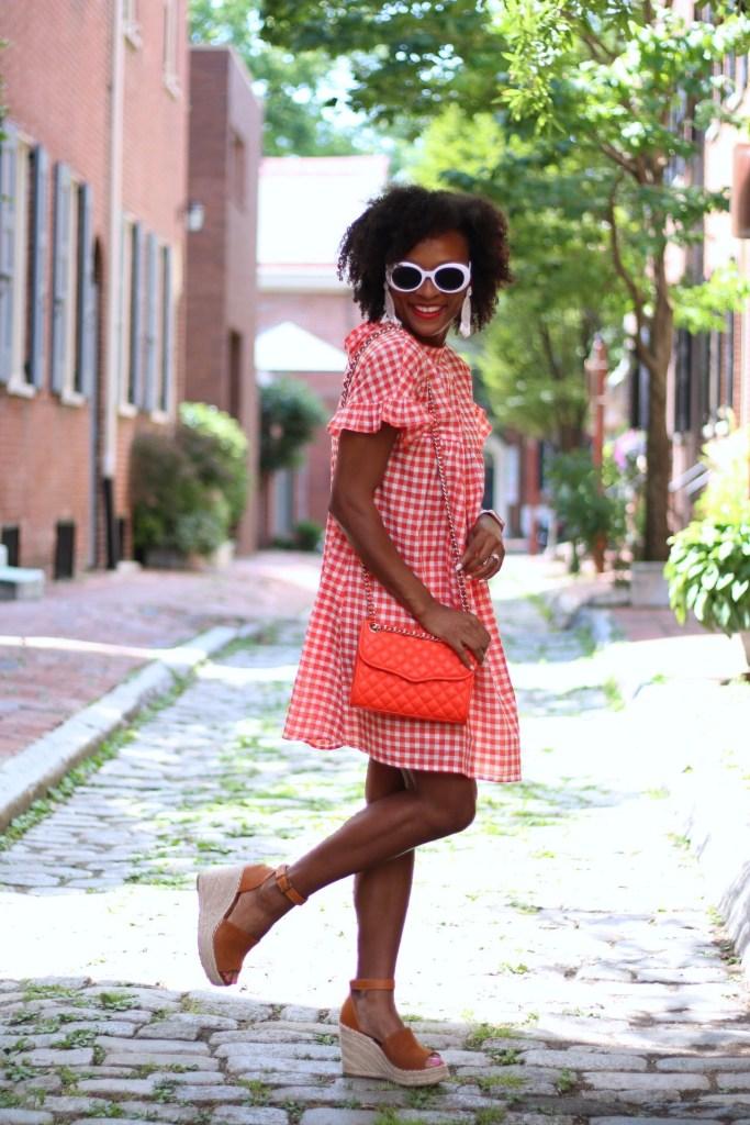 Orange Gingham Dress5