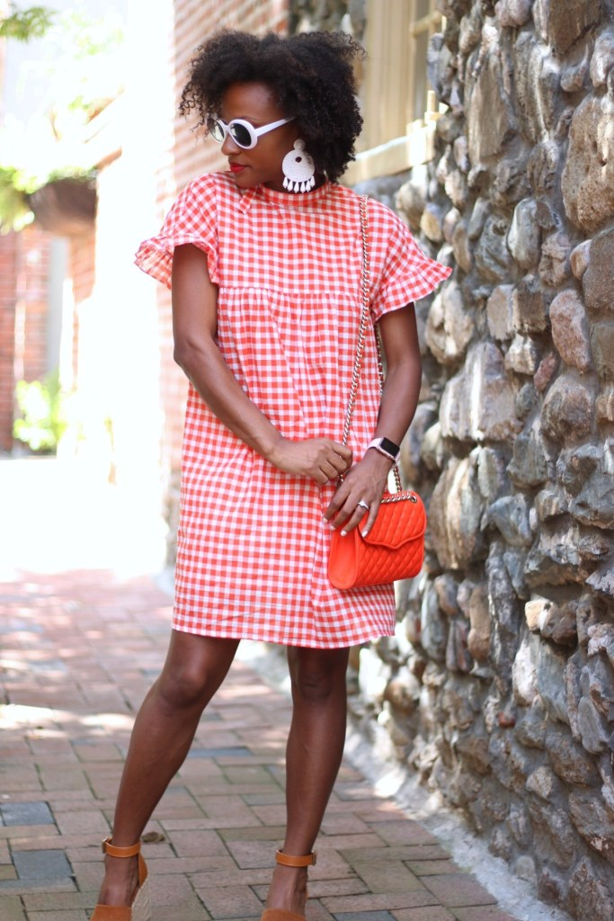 Orange Gingham Dress1