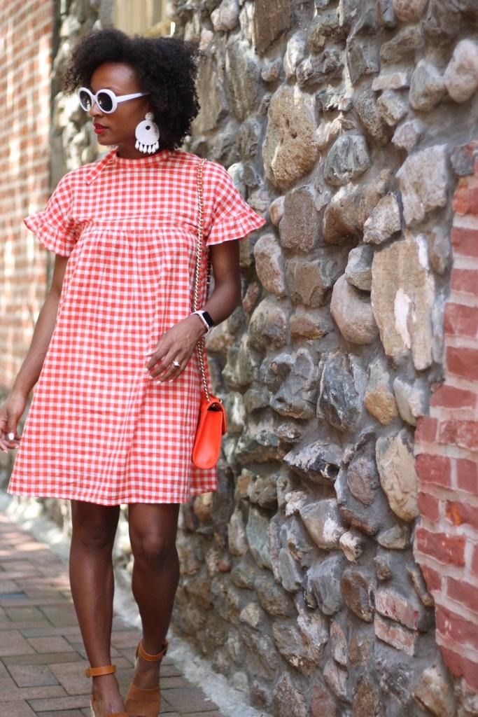 Orange Gingham Dress7