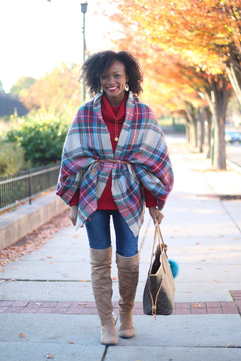 Thanksgiving Day Outfit Inspiration + A Blanket Scarf Belting Tutorial
