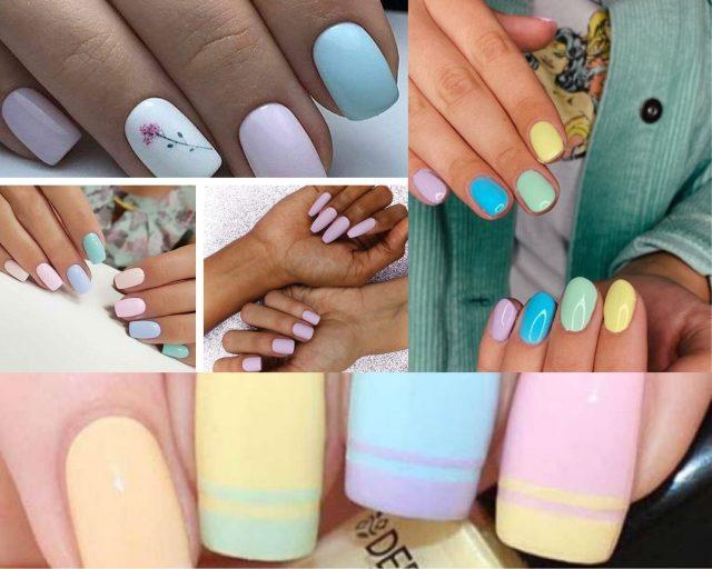 Diseño de uñas pasteles
