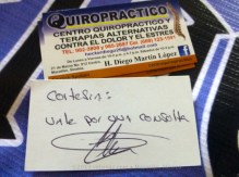 Five certificates for chiropractic treatment from Diego Martin López