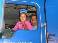 Truck driver brings his daughter