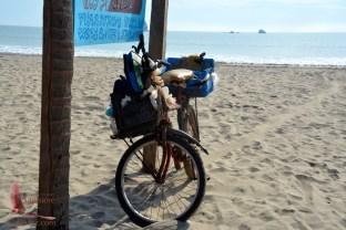 A vendor's bicycle waiting his return