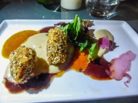 5. Course 3: Pato: Duck breast confit and house-made magret chorizo croquets, over a pureé of Andean potato and native Colombian blackberry sauce, duck and black truffle jus. Served with a Chilean Chardonnay.