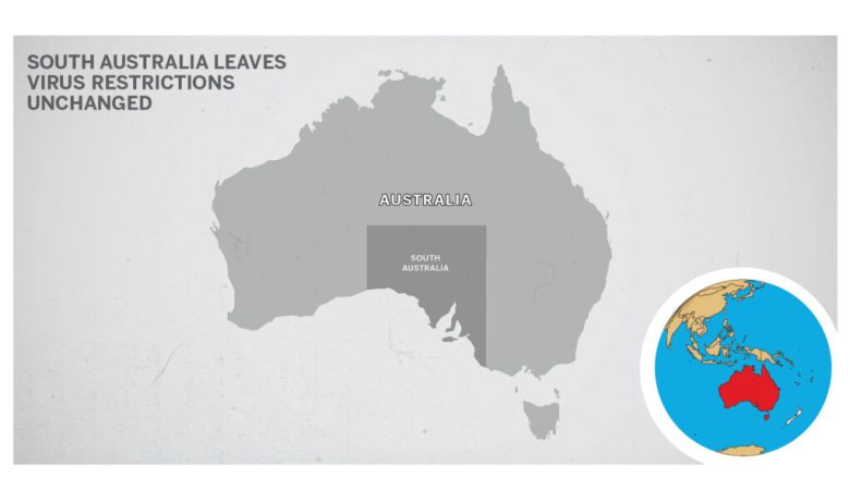 The map of South Australia, Australia.