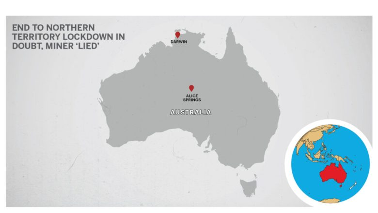 Map of Darwin and Alice Springs