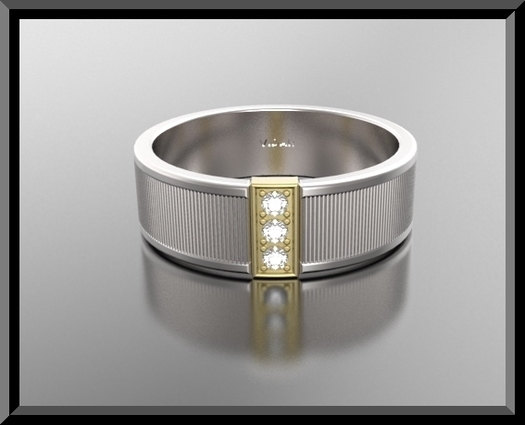 Mens Two Tone Diamond Wedding Band Vidar Jewelry