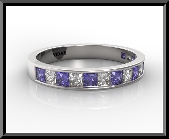 Womens Blue And White Sapphire Wedding Bandhalf Eternity
