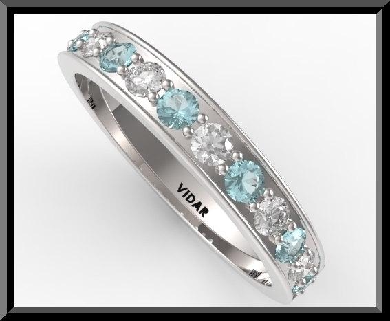 Womens Light Blue Aquamarine And Diamond Wedding Bandhalf