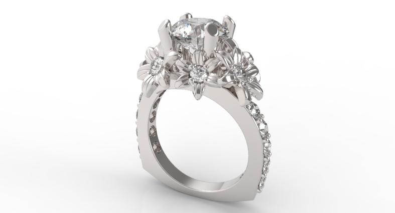 Flowers Diamond Engagement Ring Semi Mount Vidar Jewelry