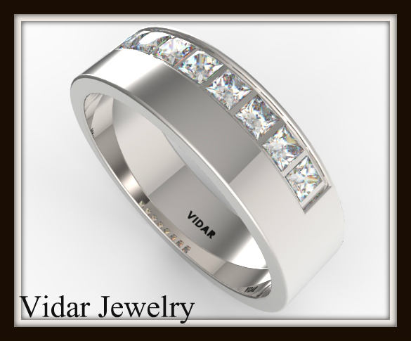 Mens Princess Cut Diamond Wedding Band Vidar Jewelry