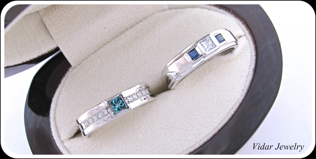 His And Her Matching Blue Diamond Blue Sapphire Wedding