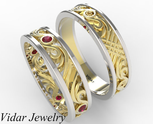 His And Hers Ruby Wedding Band Set Vidar Jewelry