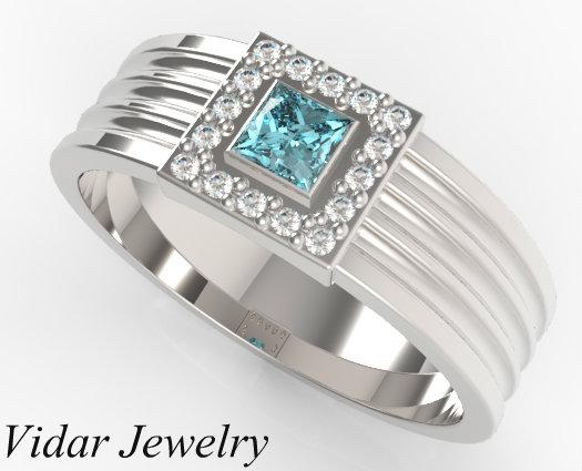 Mens Princess Cut Aquamarine Wedding Band Vidar Jewelry