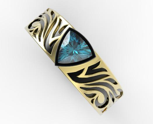 Blue Diamond Trillion Cut Wedding Ring Vidar Jewelry