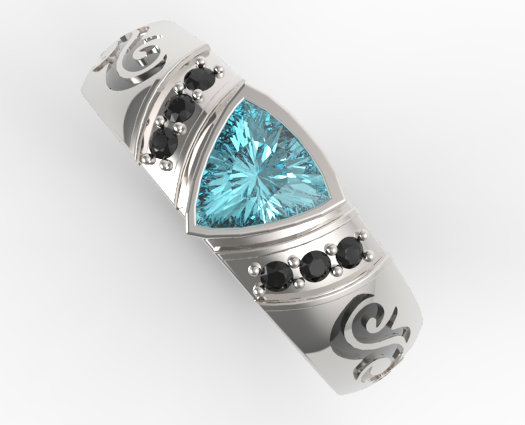 Trillion Cut Aquamarine Mens Wedding Band Vidar Jewelry