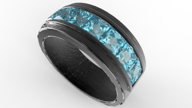 Men S Black Gold Amp Channel Set Aquamarine Wedding Band Vidar Jewelry Unique Custom