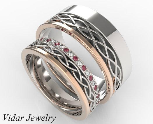 Stunning Diamond Sapphire Alternately Matching Wedding
