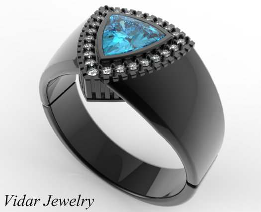 Mens Wedding Band Black Gold 1 Carat Blue Aquamarine