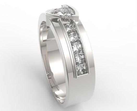 Mens Wedding Band With Trillion Cut Diamond Unusual