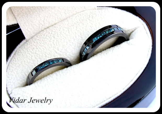 His And Her Black Gold Blue Diamond Matching Wedding Bands