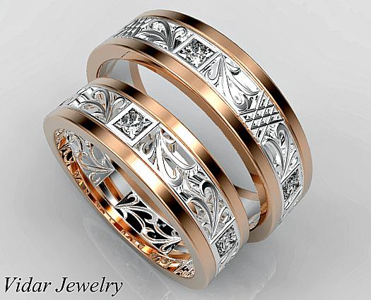 Princess Cut Diamond Matching Wedding Ring Set Vidar
