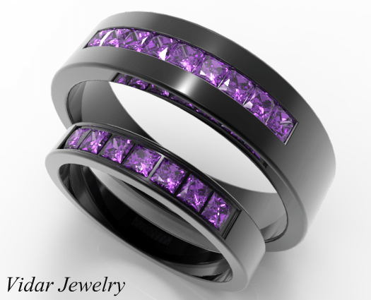 Unique Style Black Gold Amethyst Matching Wedding Rings