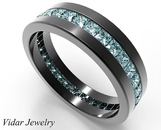 Black Gold Princess Cut Aquamarine Wedding Band For Men