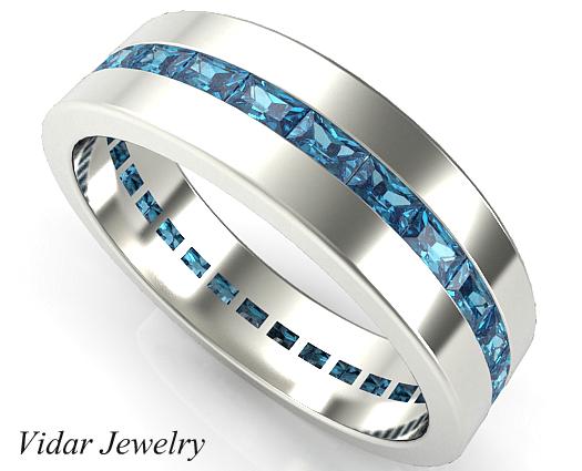Baguette Blue Diamond Wedding Band For Mens Vidar